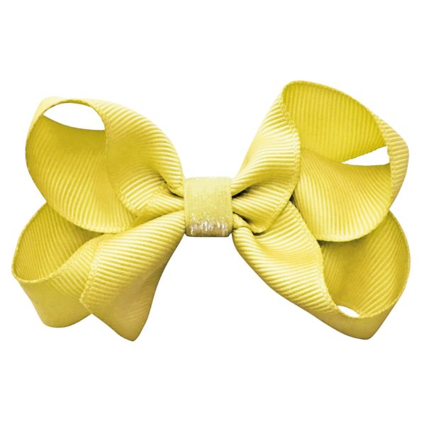 Medium boutique Milledeux bow – alligator clip – daffodil colored glitter
