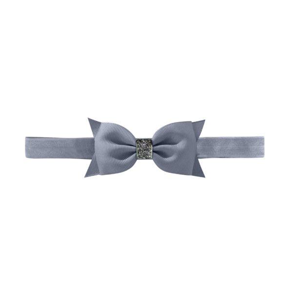 Double Bowtie bow – elastic hairband – white glitter