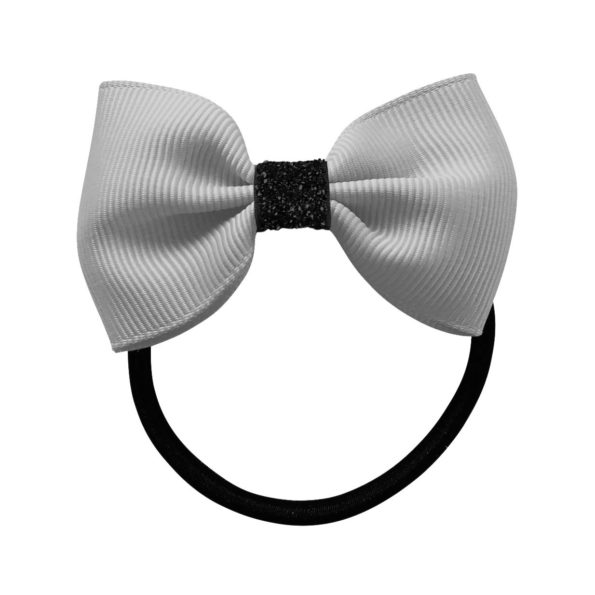 Small Milledeux bowtie bow – elastic band – light silver / black glitter