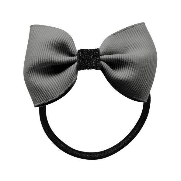 Small Milledeux bowtie bow – elastic band – metal grey / black glitter