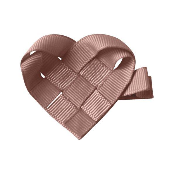 The Classic Christmas Milledeux Heart – antique mauve – alligator clip