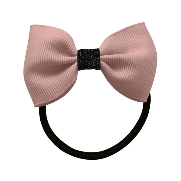 Small Milledeux bowtie bow – elastic band – antique mauve / black glitter