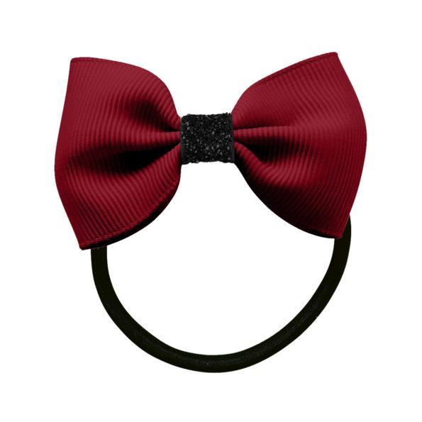 Small Milledeux bowtie bow – elastic band – wine / black glitter