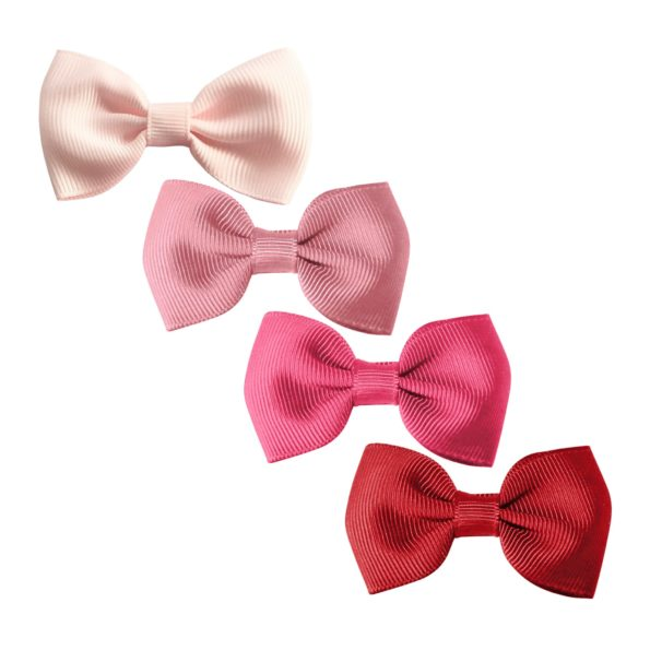 Milledeux Gift set – 4 Small bowtie bows – alligator clip – pink/red