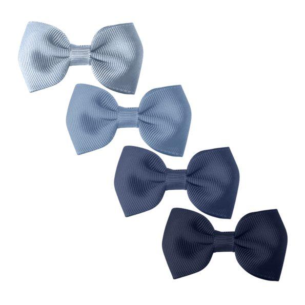 Milledeux Gift set – 4 Small bowtie bows – alligator clip – Blues