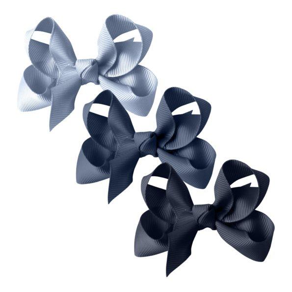 Milledeux®  gift set – Grosgrain Collection – 3 Medium boutique bows – blues