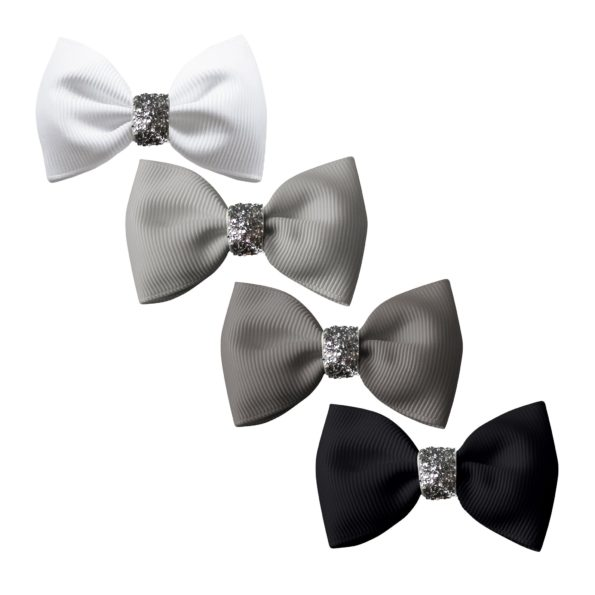 Milledeux® Gift set – 4 Small bowtie bows – alligator clip – Glitter various