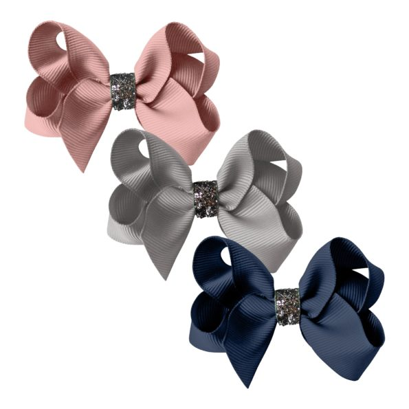 Milledeux gift set – Glitter Collection – 3 Medium boutique bows mauve/grey/navy