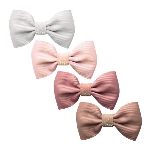 Milledeux® Paris Gift set – 4 Small bowtie bows – alligator clip – Colored Glitter