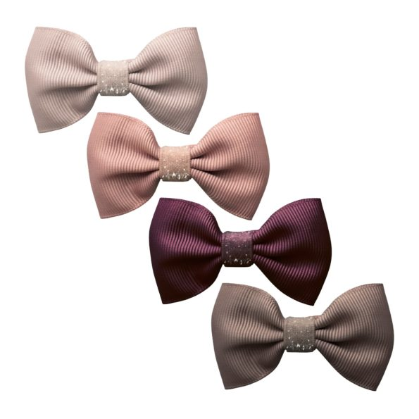 Milledeux®  New York Gift set – 4 Small bowtie bows – alligator clip – Colored Glitter