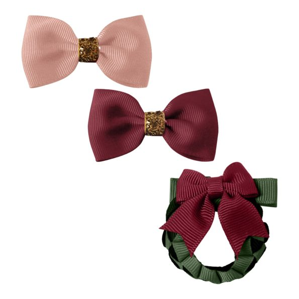Milledeux Christmas Gift set – 3 hair clips – red/gold