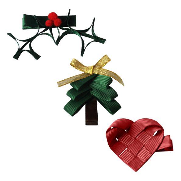 Milledeux Christmas Gift set – 3 hair clips – Christmas items