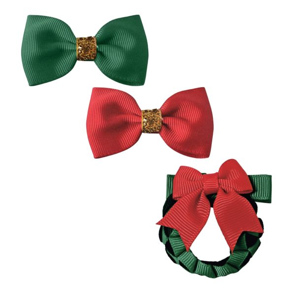 Milledeux® Christmas Gift set – 3 hair clips – red/green/gold