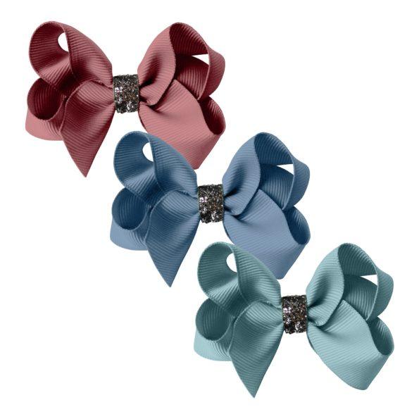 Milledeux gift set – Glitter Collection – 3 Medium boutique bows rose/blue/green