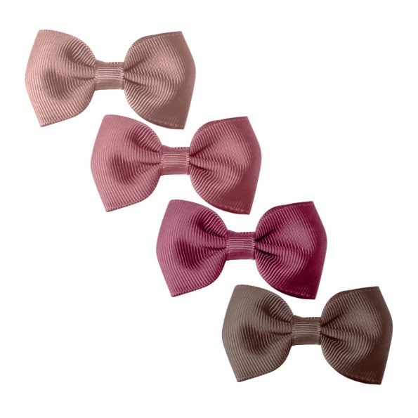 Milledeux®  Gift set – 4 Small bowtie bows – alligator clip – Mauves
