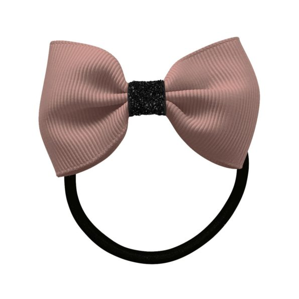 Small Milledeux bowtie bow – elastic band – Ginger snap / black glitter