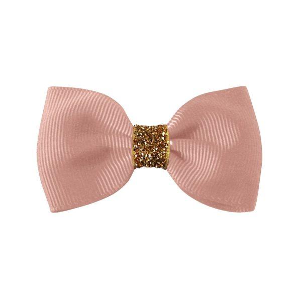Small Milledeux bowtie bow – alligator clip – antique mauve christmas glitter