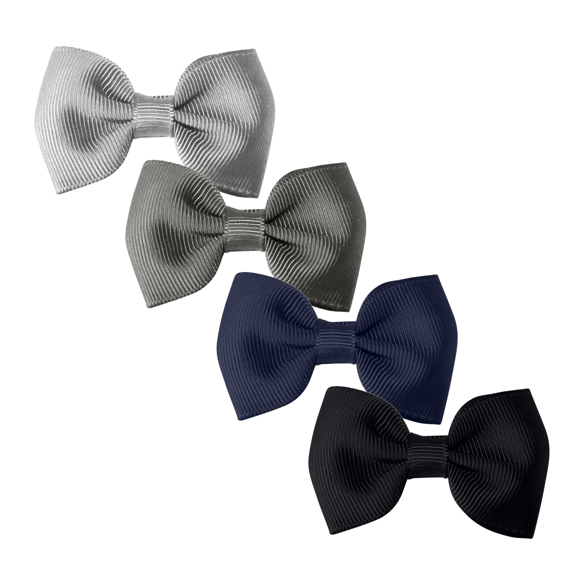 Image of Milledeux® Gift set - 4 Small bowtie bows - alligator clip - blue/grey/black