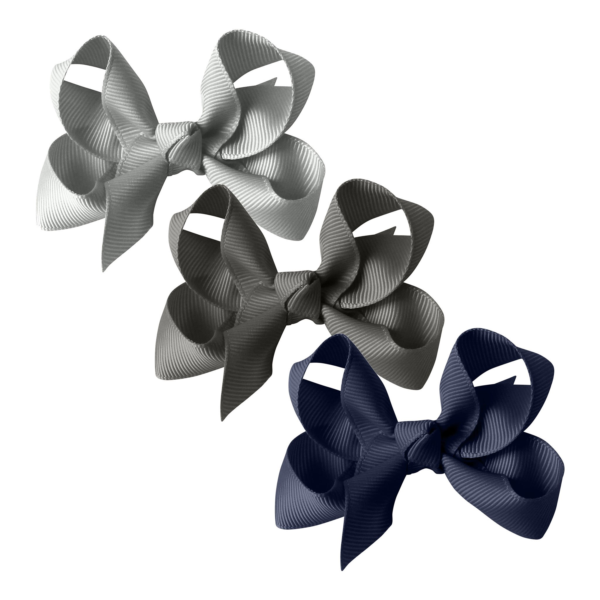 Image of Milledeux® gift set - Grosgrain Collection - 3 Medium boutique bows - grey/navy