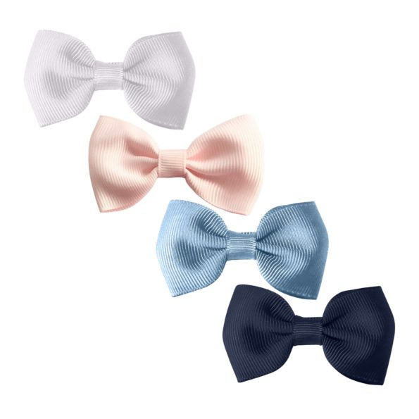Milledeux®  Gift set – 4 Small bowtie bows – alligator clip – white/pink/blue