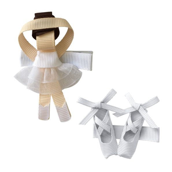 Gift set – Milledeux Ballerina and shoes – alligator clip – white