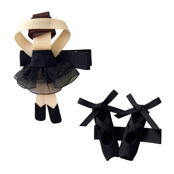 Gift set – Milledeux®  Ballerina and shoes – alligator clip – black