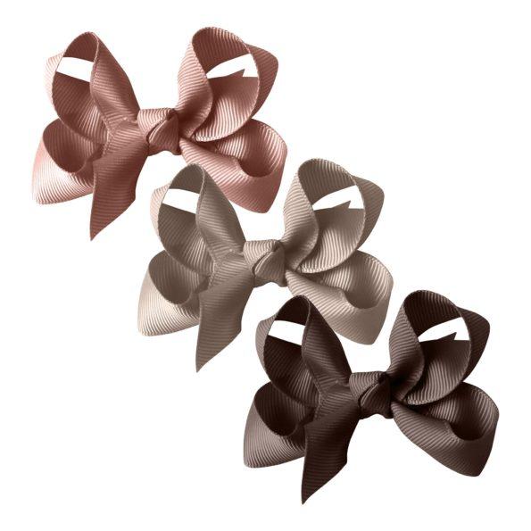 Milledeux gift set – Grosgrain Collection – 3 Medium boutique bows – mauve/beige/brown
