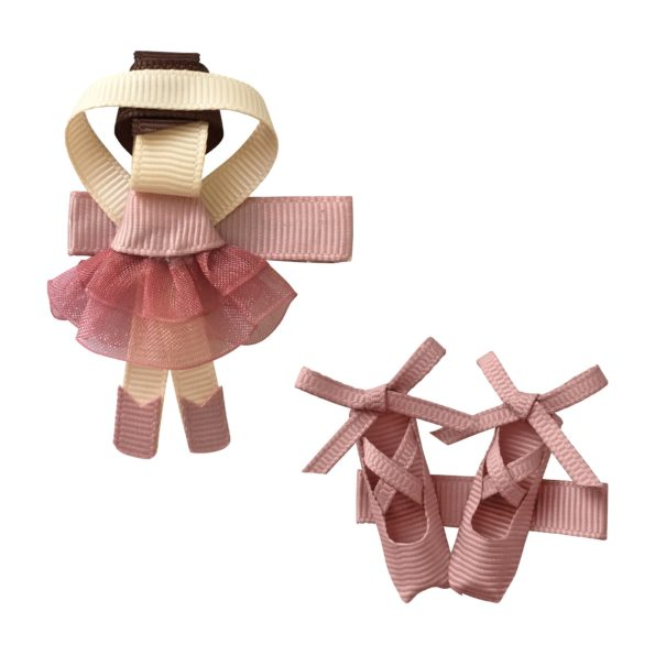 Gift set – Milledeux®  Ballerina and shoes – alligator clip – Antique mauve
