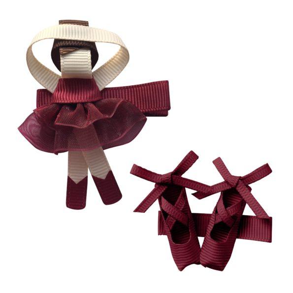 Gift set – Milledeux®  Ballerina and shoes – alligator clip – wine