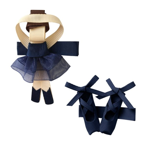 Gift set – Milledeux Ballerina and shoes – alligator clip – navy
