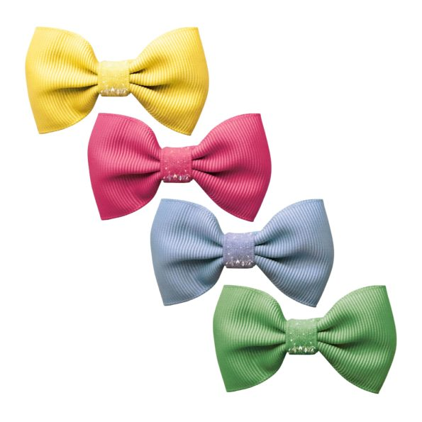 Milledeux Gift set – 4 Small bowtie bows – alligator clip – Colored Glitter