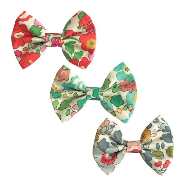 Milledeux Gift set – 3 Liberty bowtie bows – alligator clip – blue/green/red