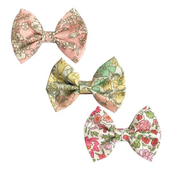 Milledeux Gift set – 3 Liberty bowtie bows – alligator clip – Pinks