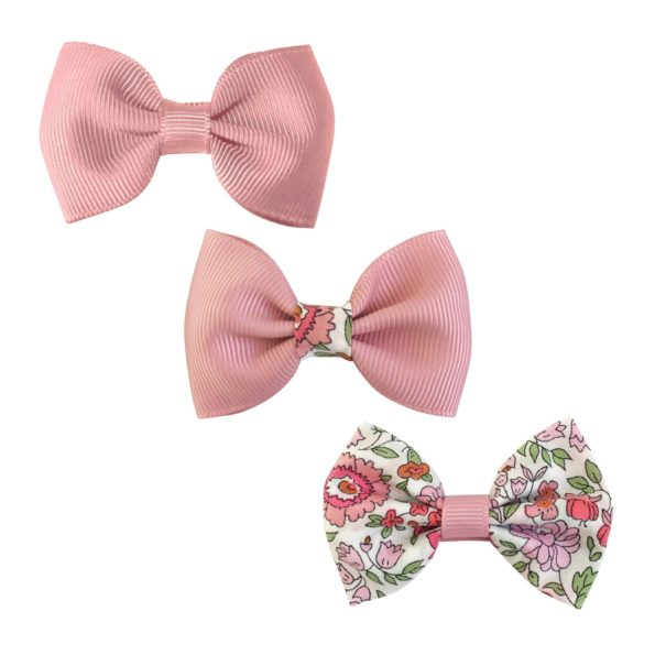 Milledeux® Gift set – 3 mixed bowtie bows – alligator clip – Pinks