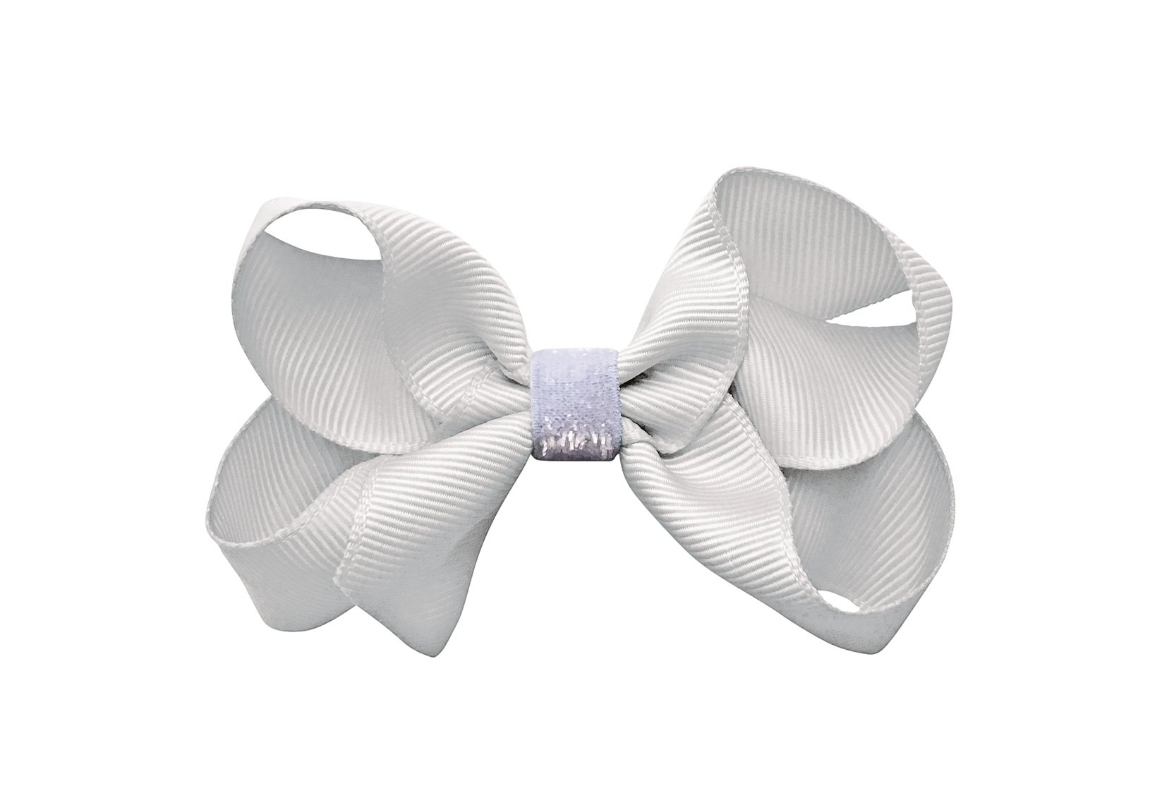 White Medium Boutique Bow with Colored Glitter Middle – Alligator Clip