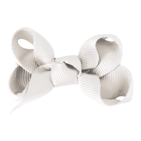 Small boutique bow – alligator clip – white
