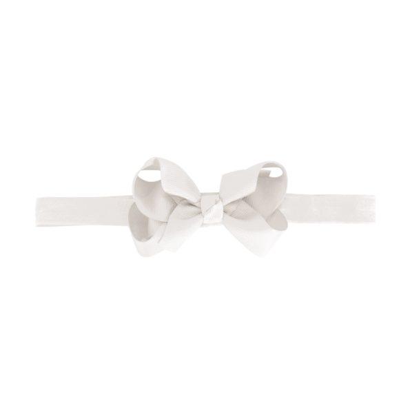 Medium boutique bow – elastic hairband – white