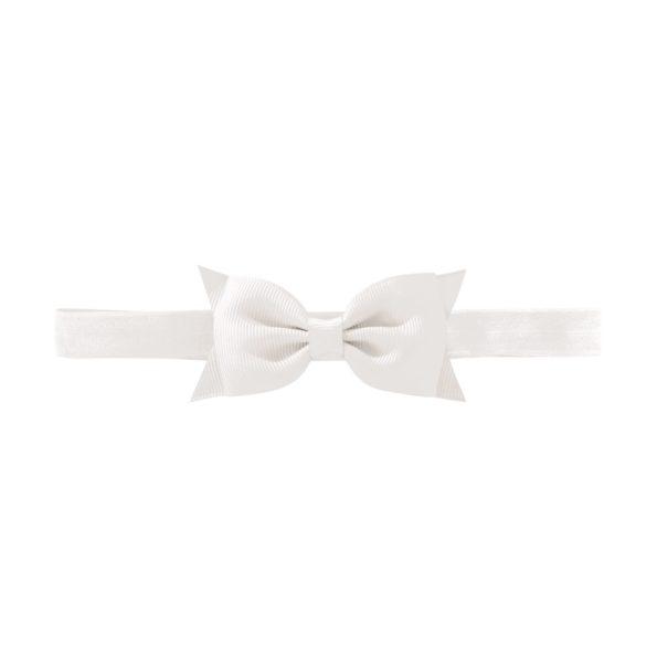 Milledeux Double Bowtie bow – elastic hairband – white