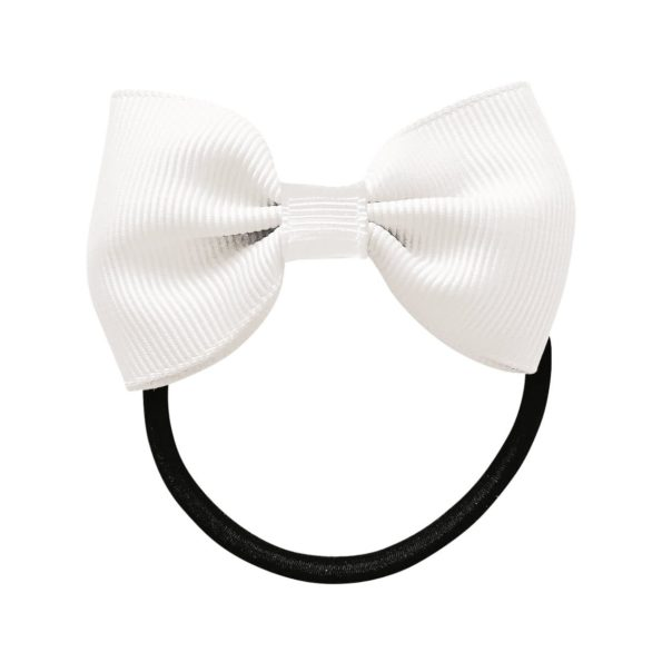 Small bowtie bow – elastic band – white