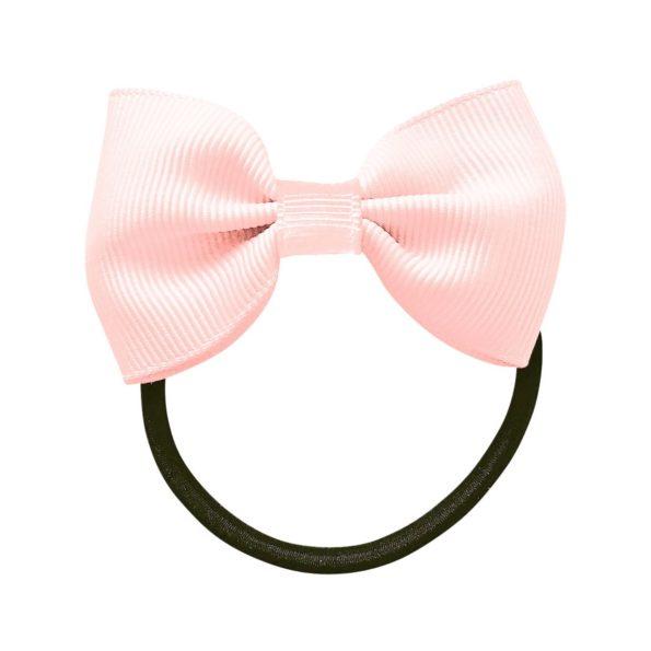 Small bowtie bow – elastic band – powder pink