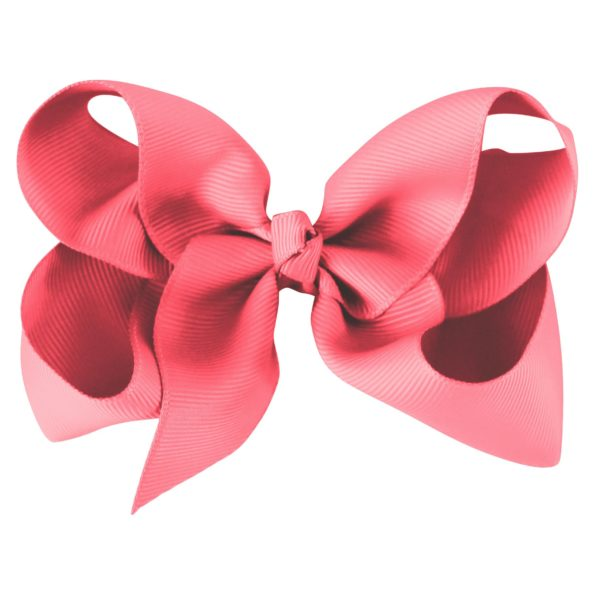Large boutique bow – alligator clip – coral rose