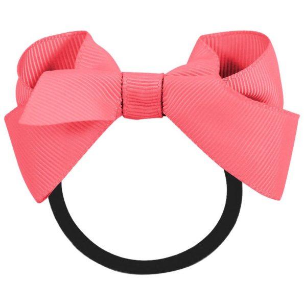 Medium boutique bow – elastic band – coral rose