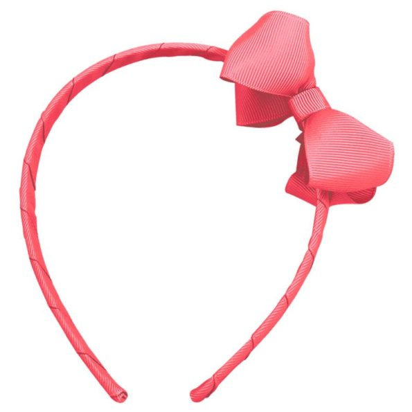 Medium boutique bow – hairband – coral rose