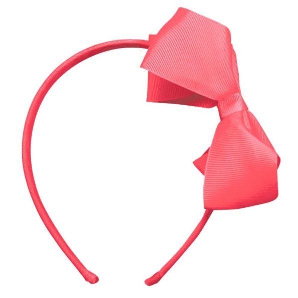 Large boutique bow – hairband – coral rose