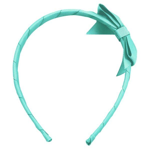 Medium bowtie bow – hairband – aqua
