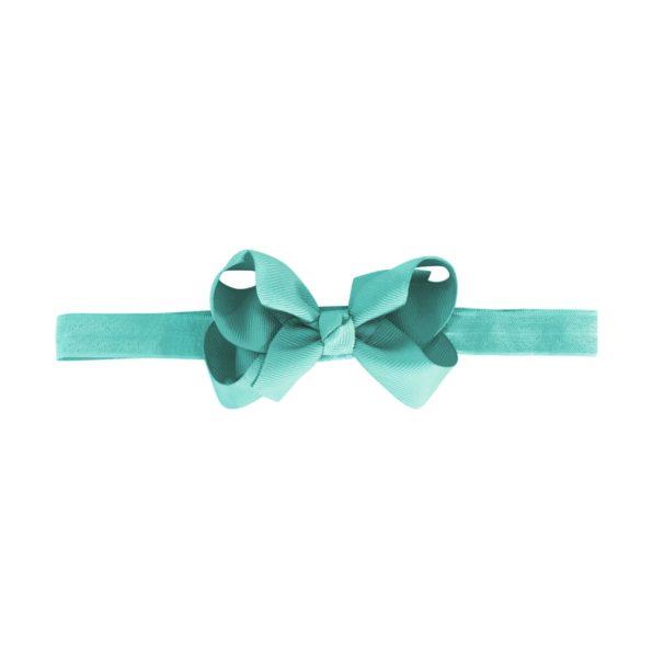 Medium boutique bow – elastic hairband – aqua