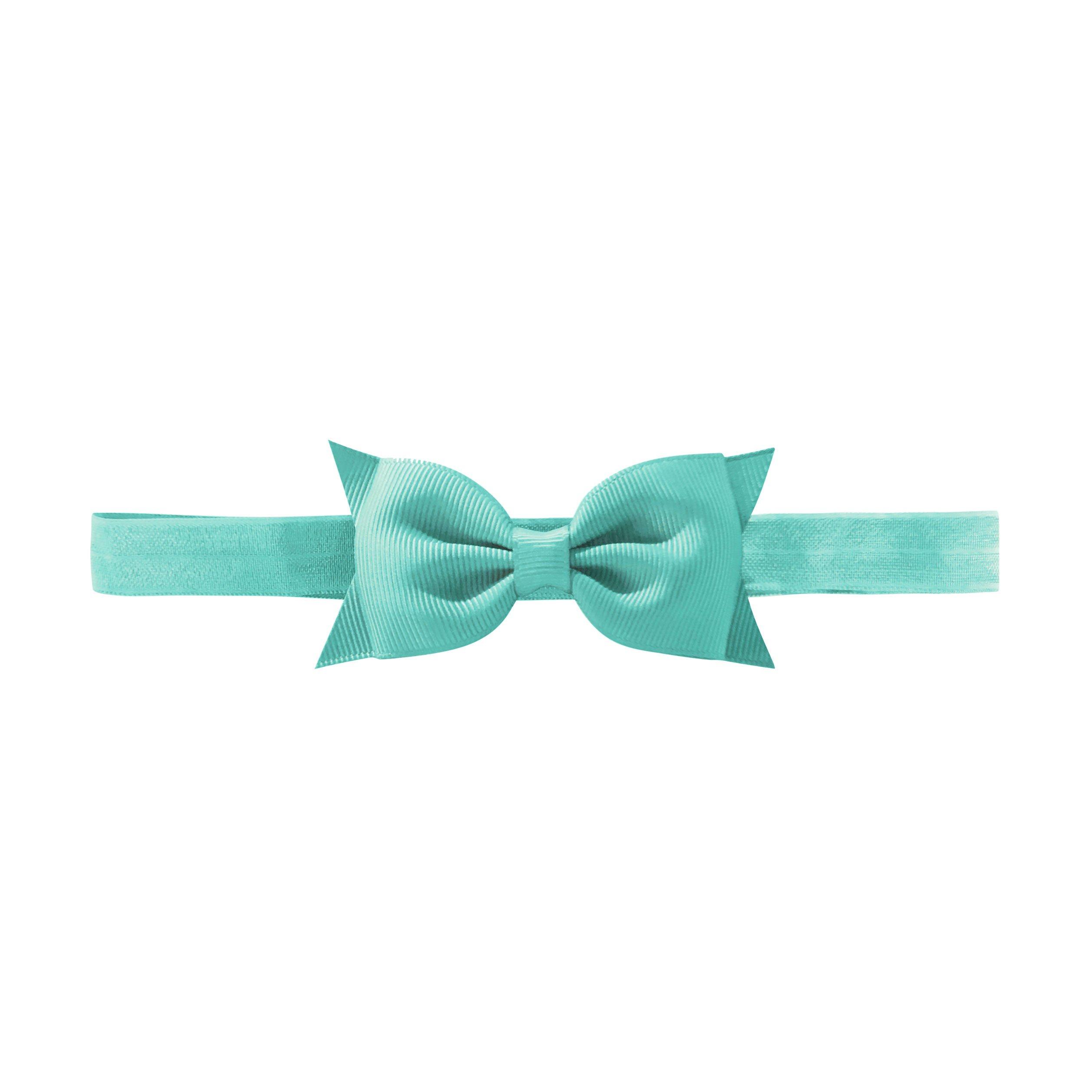 Image of Milledeux double Bowtie bow - elastic hairband - aqua