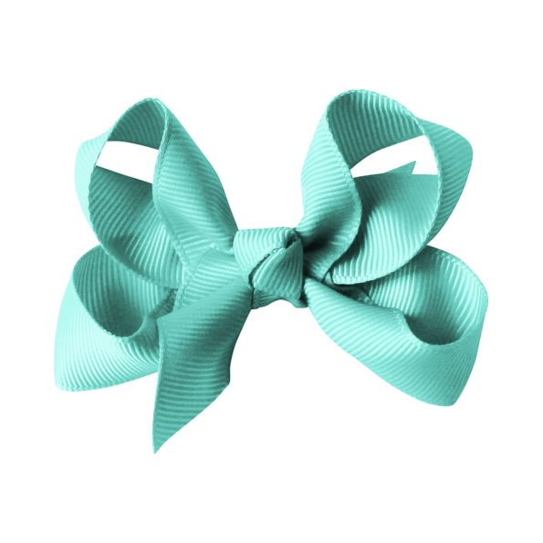 Medium boutique bow – alligator clip – aqua