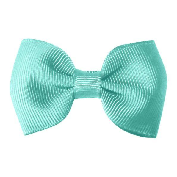 Small bowtie bow – alligator clip – aqua