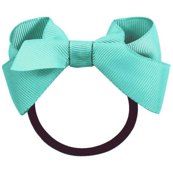 Medium boutique bow – elastic band – aqua